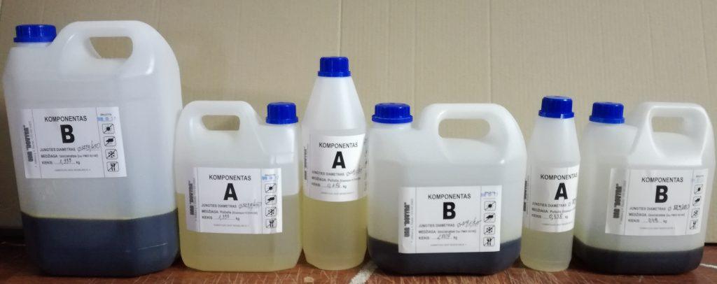 Komponentai ir buteliukų dydžiai